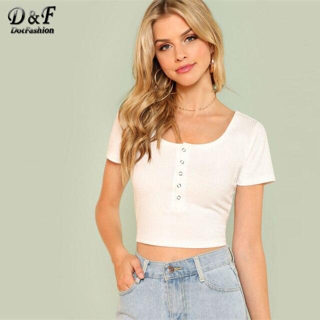 Dotfashion Half Placket Rib Knit Crop Tee Summer White Scoop Neck Elegant  Tee Shirt Women Button Short Sleeve Slim Fit Top b135dde722