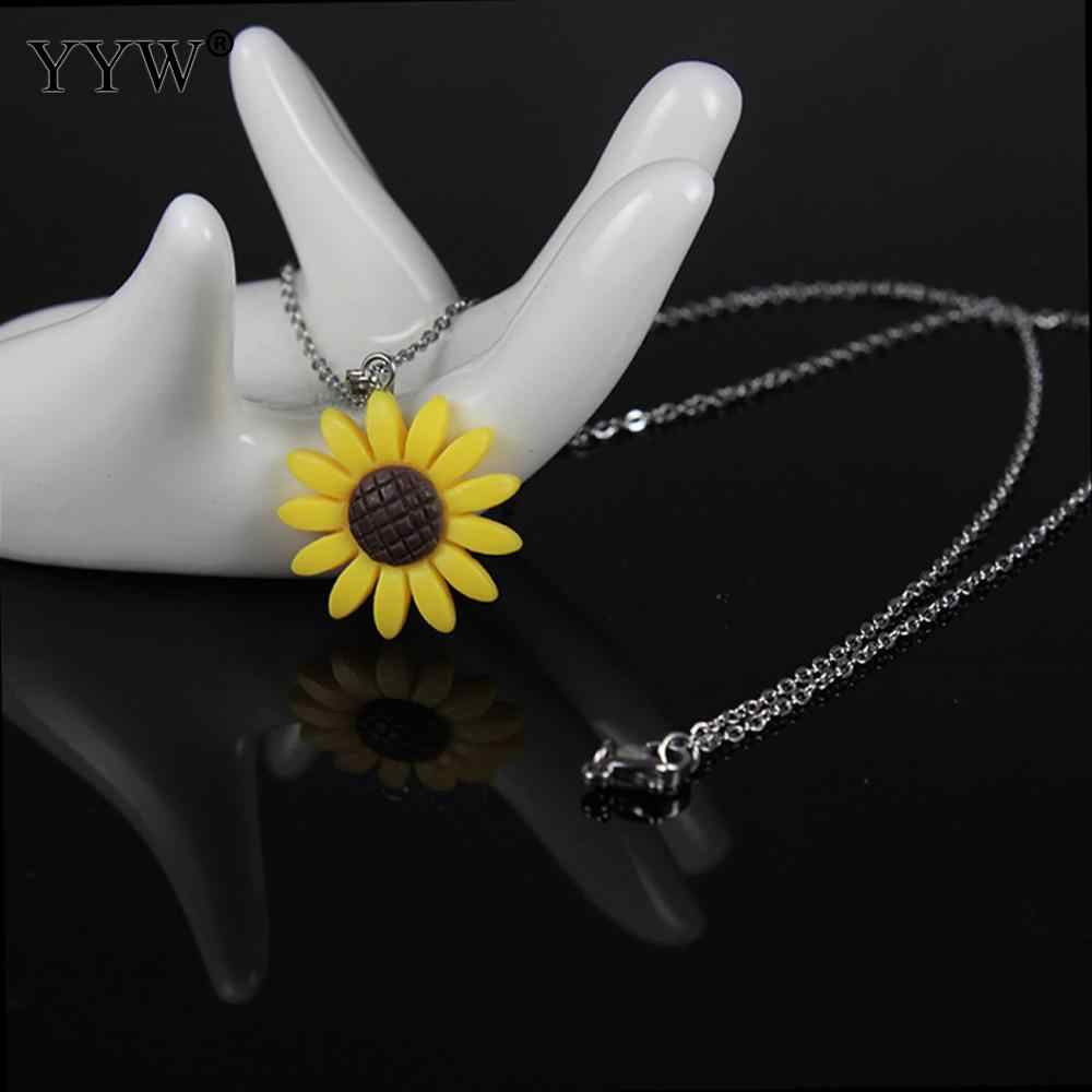 Fashion Sunflower Pendant Necklace For Women Jewelry Stainless Steel Long Chain Collier 20mm Yellow Flower Maxi Necklace Gift