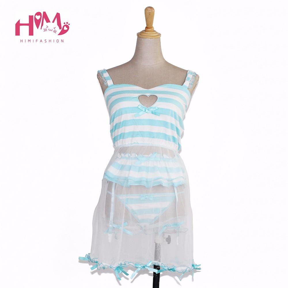 Cute love cut-out hollow out sexy lingerie pajamas pink modal dress + garter pants + lace leg ring blue stripe homewear women 1