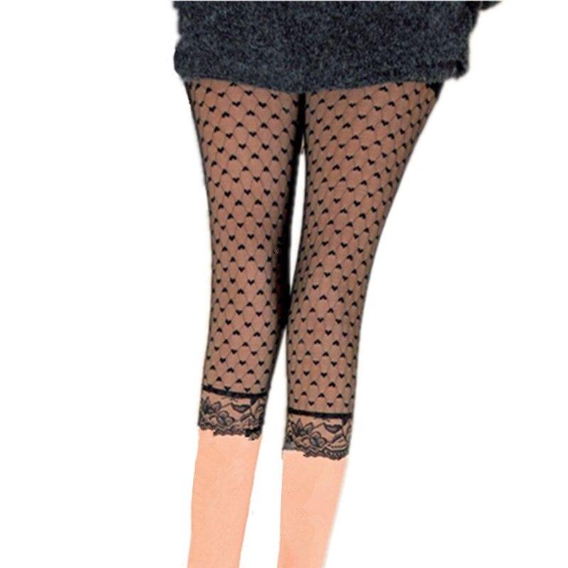 Image 3 - YGYEEG letnie koronkowe czarne legginsy damskie szydełkowane obcisłe spodnie ze stretchem średnio wysoka talia leginsy spodenki Capri 3/4 długość spodnieLegginsy   -