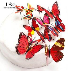 Image 5 - 送料無料12ピースpvc蝶ウエディングケーキトッパー/ウェディングケーキスタンド/ウェディングデコレーション/ケーキ飾る用品