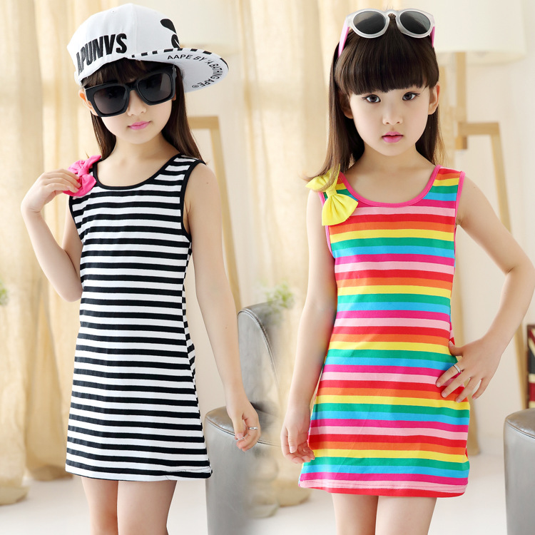 Girl Vest Dress Children S Summer Style No Sleeves Rainbow Stripes