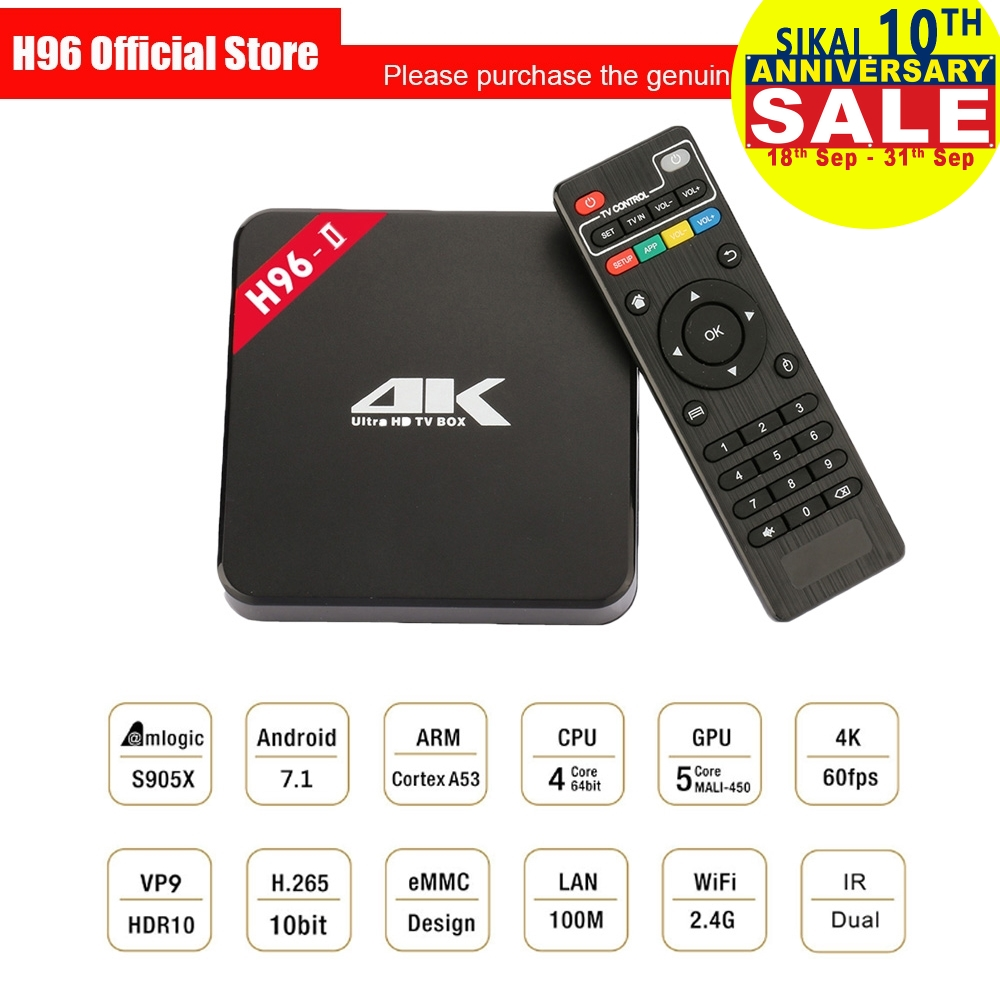 H96 2nd Gen Smart TV Box Amlogic S905 Octa Mali-450MP GPU 1G/8G 2G/16G Android 7.1 2.4G/5.8GHz Wifi Bluetooth Set Top Box IPTV beelink mini mx ver 1 0 tv box android 5 1 2g 16g amlogic s905