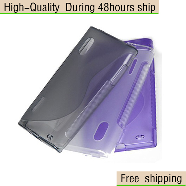 New S line TPU Gel Hard Skin Case Stand Cover For LG E610 Optimus L5  Free Shipping UPS DHL EMS HKPAM CPAM