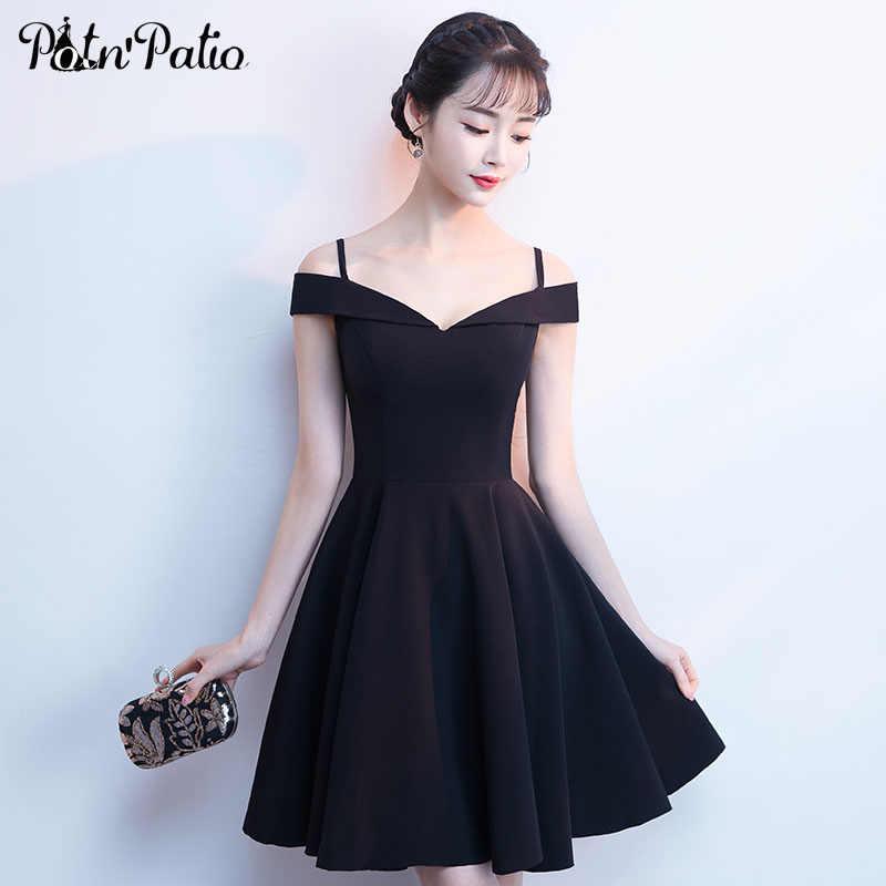 efef2dfa0b2 Простые короткие черные атласные вечерние платья Sexy с плеча-line  элегантное вечернее платье специальные Нарядное