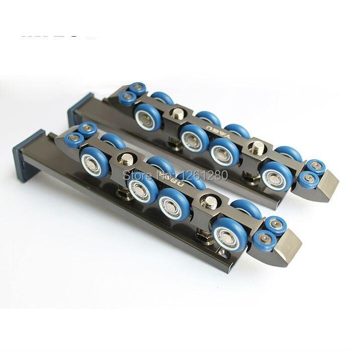 Livraison gratuite porte rouleau ultra-silencieux en bois porte porte coulissante poulie suspendue rail piste nylon roue nsk roulement porte matériel
