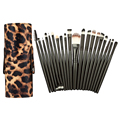 Venta caliente 20 Unids Cepillo Del Maquillaje Kits + PU Del Leopardo Titular Caja De Cosméticos Make up Set