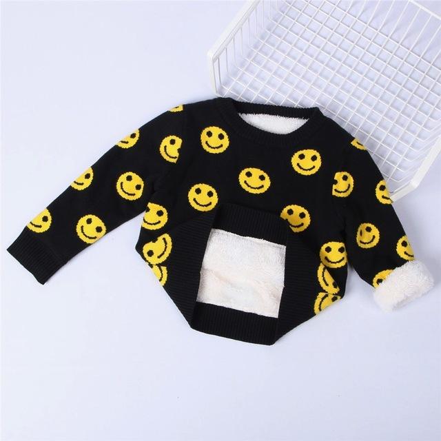 Ins * mais novo do bebê das meninas dos meninos de algodão de malha blusas de lã crianças outono inverno top roupas além de veludo padrão sorriso 1-5Y