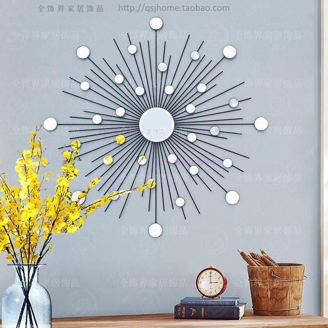 Modern Mirror Wall Art Sunburst Metal Wire Mirrored Decor