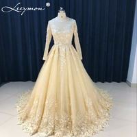 Real Champagne Lace Wedding Dresses 2018 Long Sleeve Bridal Gown Appliques Flowers Beaded brautkleider hochzeitskleid