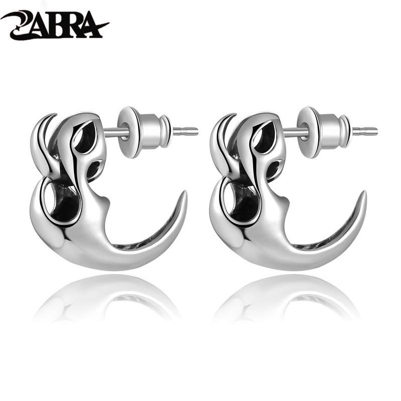 6cc7ab752 ZABRA 925 Sterling Silver Earrings Men High Polished Vintage Punk Skeleton  Studs For Men Biker Jewelry