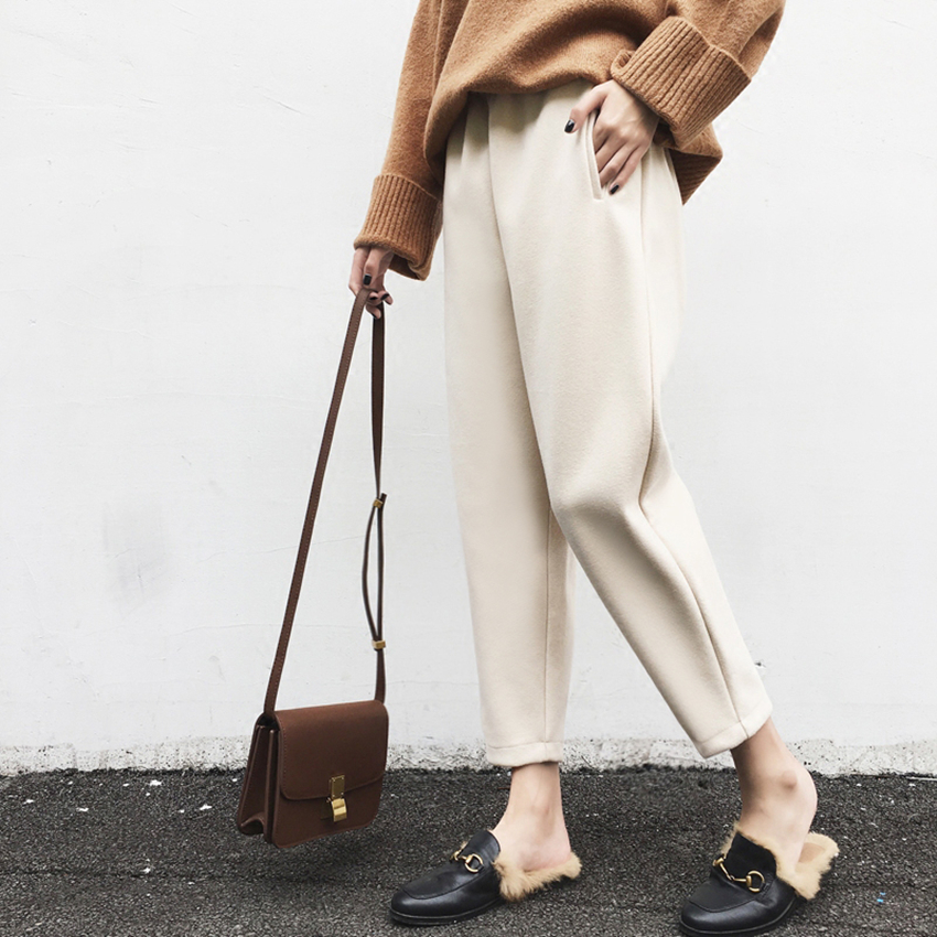 Autumn Winter Thick Wool Pants Women Elastic Waist Female Casual Woolen Harem Pants Lady Heavy Capri Trousers Warm Plus Size