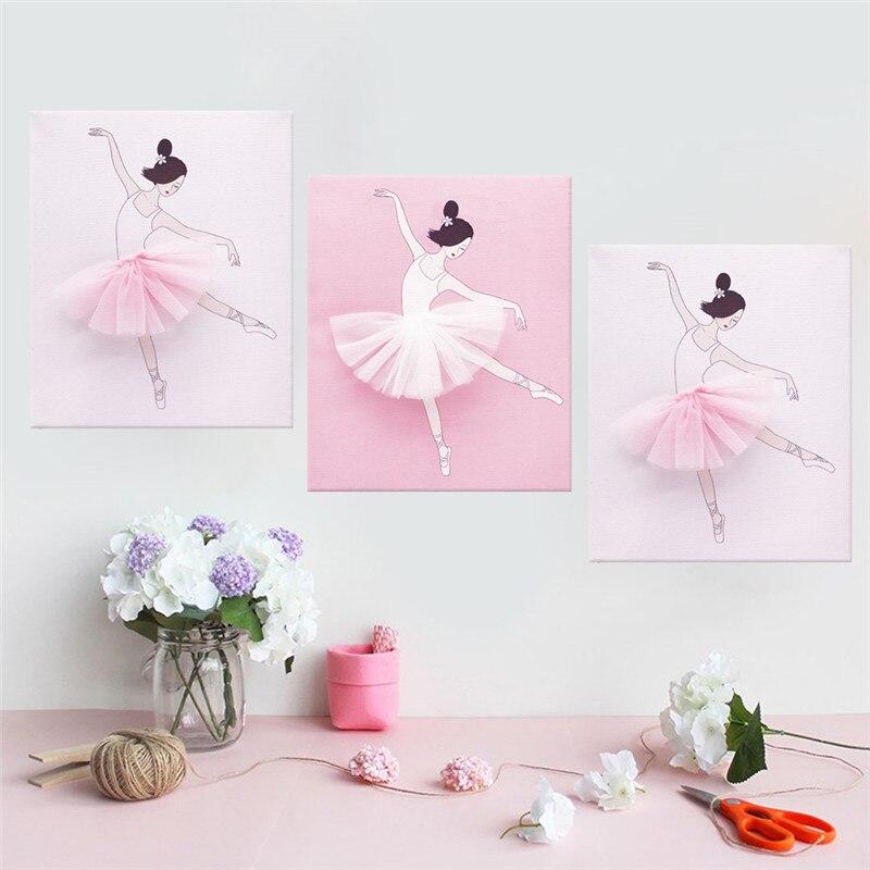 3 pièces Rose Danse Filles Moderne HD Toile Peintures art mural Modulaire Affiche Cadeau Nordique Image Enfants Chambre Salon décoration d'intérieur