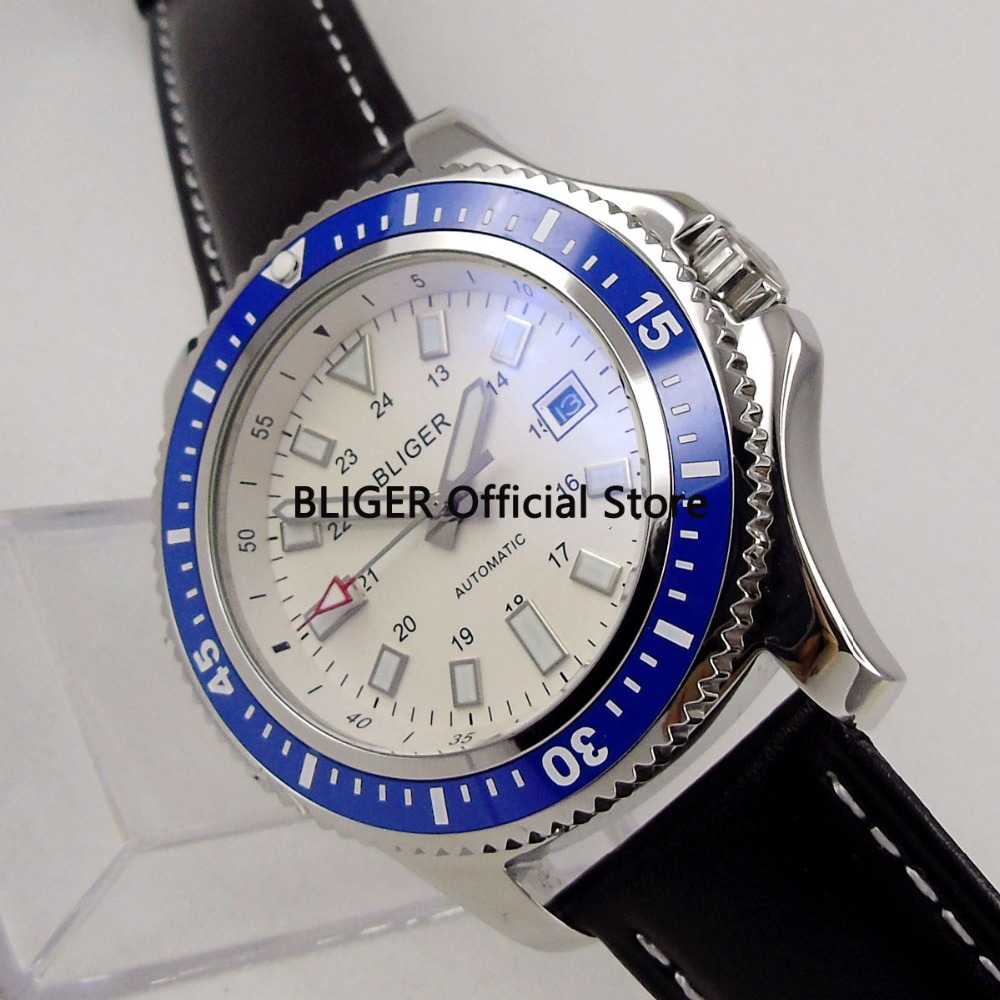 Classic 44mm BLIGER White Dial Blue Ceramic Rotating Bezel Solid SS Case Luminous Marks Miyota Automatic Movement Mens Watch Classic 44mm BLIGER White Dial Blue Ceramic Rotating Bezel Solid SS Case Luminous Marks Miyota Automatic Movement Mens Watch