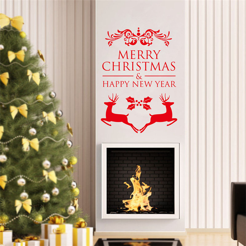 Happy New Year Merry Christmas Window Sticker Christmas ...