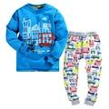 2-7Y мальчики зима пижамы руно подкладка сгущает тепло 2 шт. детская зимняя одежда набор автомобиль печати дети мальчики повседневная пижамы