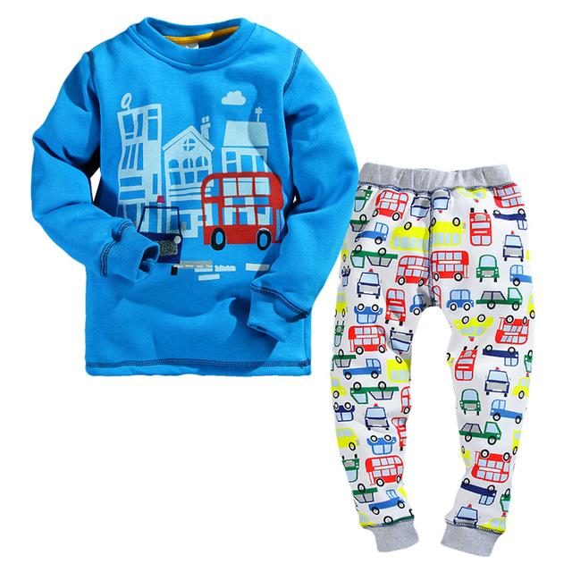 2-7Y meninos pijamas de inverno do velo forro engrosse calorosamente 2 peças crianças conjunto de roupas de inverno impressão carro crianças meninos pijamas casual