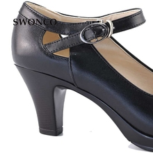 Genuine Leather 35-40size Black High-Heeled Square Heel Woman OL  Shoes With  Round  Toe  Thick Straps Pumps Sandals Shoes