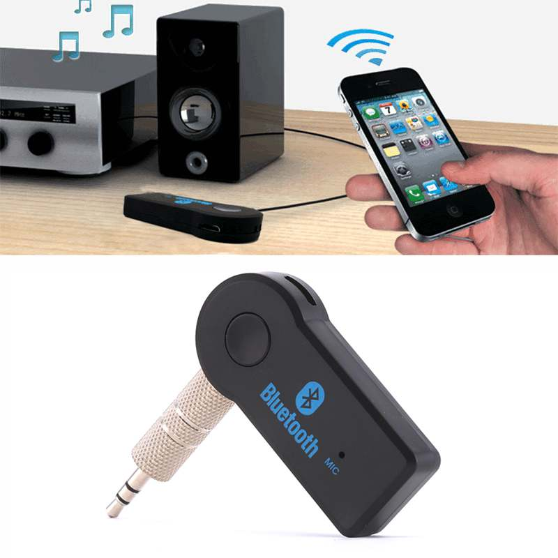 Handfree Car Bluetooth Music 3.5mm Wireless Auto AUX Audio With Mic For Phone