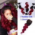 Brazilian virgin hair 3 Bundles with 1 closure Ombre color T1B/burgundy Body Wave Brazilian human hair Weave Bundles In stock