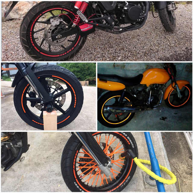 Us 1 82 15 Off 16 Strips Wheel Sticker Reflective Rim Stripe Tape Bike Motorcycle Car Fit For 16 17 18 Inch Blue Orange Yellow Green White Red In