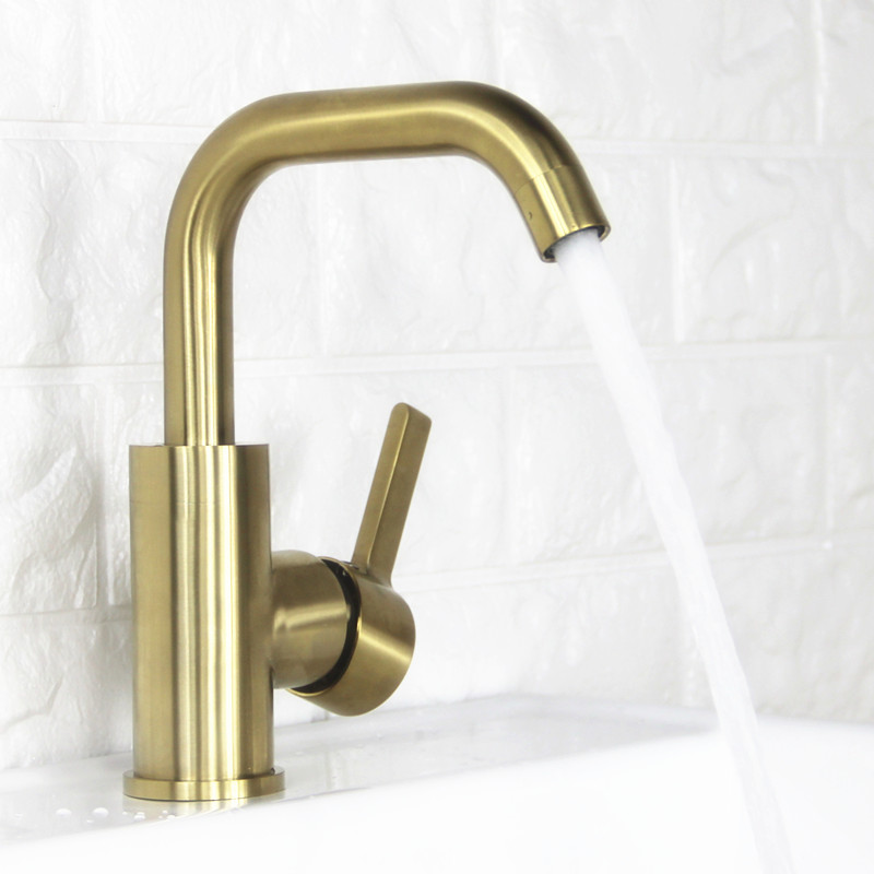 Brushed Brass Bathroom Basin Faucet Cold and Hot Water Mixer Single Handle Tap