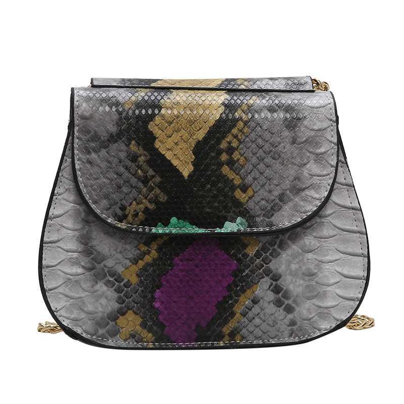 100Cm-170Cm Strap Length Python Leather Saddle Bag Chic Lady Messenger Handbag Girls Street Style Bags Cross Body Bags