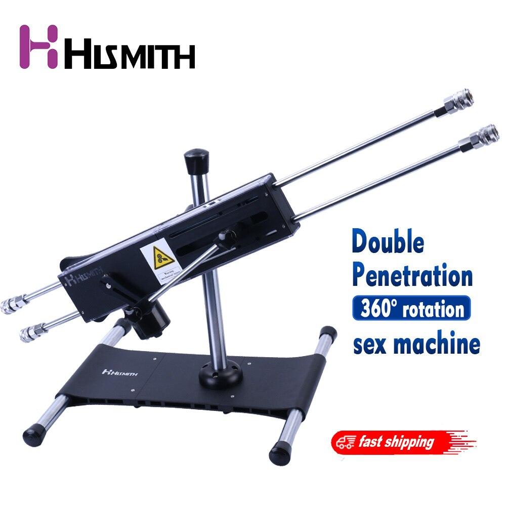 Hismith nouvelle Machine de sexe de rotation Stable de 360 degrés avec le moteur silencieux puissant de course de longue longueur de Double tête puissant réglé pour le Couple