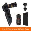 5en1 cámara de lentes para samsung galaxy note 2 3 4 5 iphone 6 6 s casos 7 telescopio del zumbido 8x lente gran angular ojo de pez macro Len + Clips