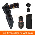 5in1 Camera Lenses For Samsung Galaxy note 2 3 4 5 iPhone 6 6s 7 Cases 8X Zoom Telescope Lens Fisheye Wide Angle Macro Len+Clips