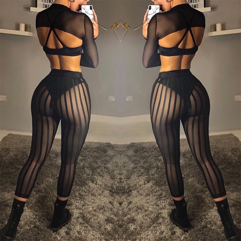 Striped Mesh Women Streetwear Pants Black Casual Pants Fishnet Hollow Out Sexy Trouser Skinny See Through Perspective Beach Pant