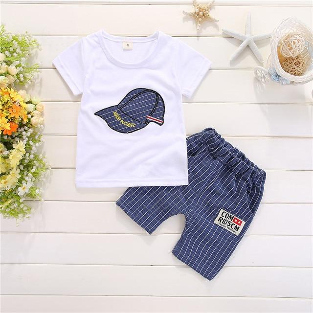 Newborn cap style white t-shirt+short 2pcs set