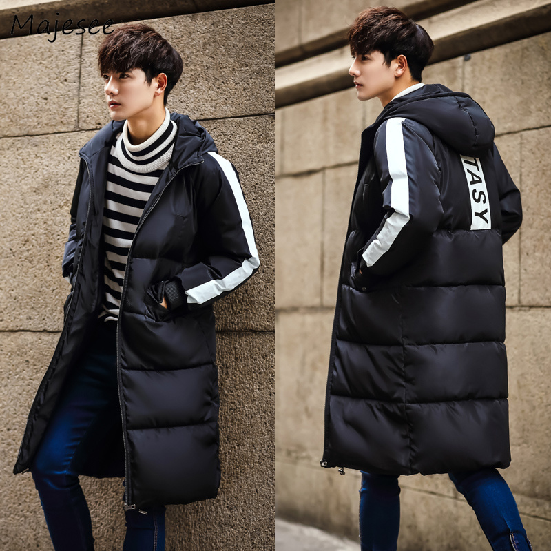 Parkas   Men Winter Large Size Hooded Striped Zipper Leisure Pockets All-match Korean Printed Long Coat Mens Thicker Warm Overcoat