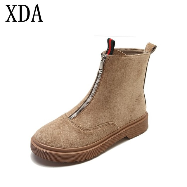 6a1ac1e2f41c XDA 2019 fashion short boots Suede Women Chelsea Boots Winter Warm Ankle  Boots zipper Flats Martin boots Woman shoes