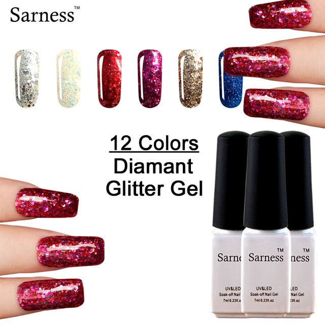 Sarness Glitter Dark Blood Red Professional 7ML Gel Lak Glitter ...