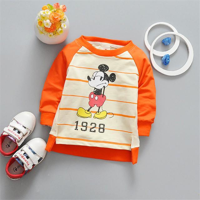 Mickey Meninos de impressão do bebê roupas pullover encabeça meninas do bebê t camisa dos desenhos animados manga longa infantil roupas traje para as crianças 3-OM132