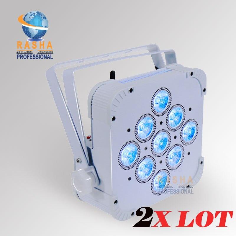 2X Rasha Brand High Brightness 9*10W 4in1 RGBW/RGBA Battery Powered Wireless LED Flat Par Light,Disco Par Can 110-240V
