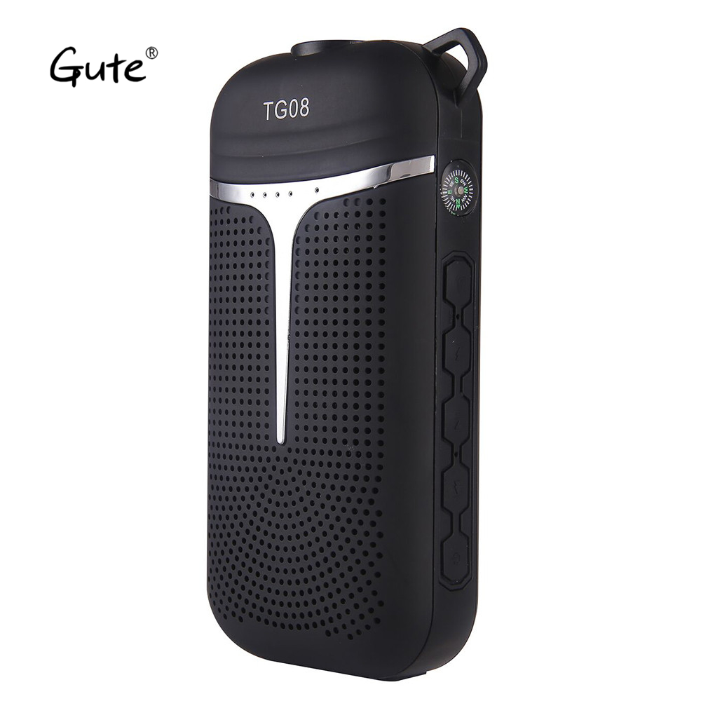 Gute 6 in 1 LED Bluetooth speaker Flashlight Power Bank handle hook Radio FM Compass enceinte bluetooth portable caixa de som