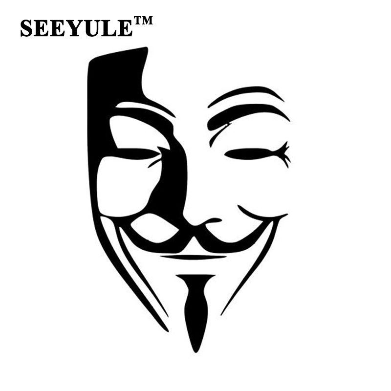 1pc seeyule reflective car sticker anonymous mask sexy man v for Tesla P100D 1pc seeyule reflective car sticker anonymous mask sexy man v for vendetta car window bumper styling decoration for bmw audi in car stickers from automobiles