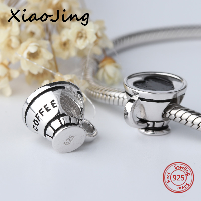 Hot sale 100% 925 Sterling Silver charms love heart coffee cup Beads Fit authentic Pandora Bracelets Pendant diy Jewelry making 100% 925 sterling silver pendant dragonfly charms beads fit original pandora bracelets charm diy beads jewelry making women gift