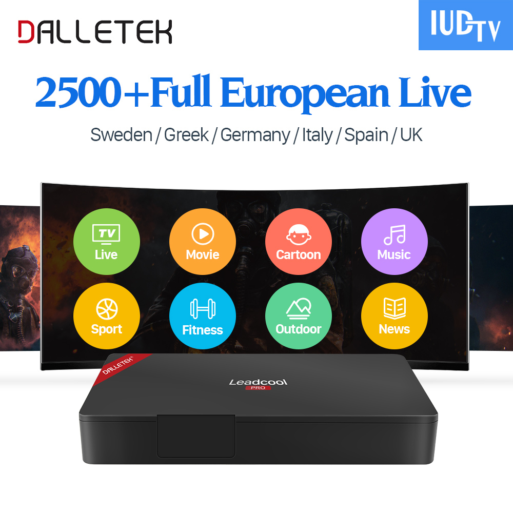 Leadcool Pro 4K Android 6.0 TV Box S905X 2G/16G IUDTV Code IPTV Subscription 2500+ IPTV Europe Sweden Italy Arabic IP TV Box x9 pro amlogic s905x 2g 16g 4k tv box tronsmart tsm01