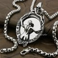 316L Stainless Steel Sexy Skull Women Magic mirror Mens Biker Pendant 4T031 (Necklect 24inches)