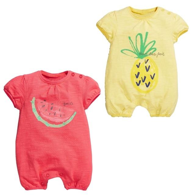 168d1f093987 summer fruit jumpsuit newborn baby girl rompers short sleeve pajamas ...