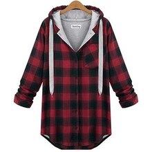 Dámský bavlněný kostkovaný pulovr s dlouhým rukávem, velikost XL-5XL