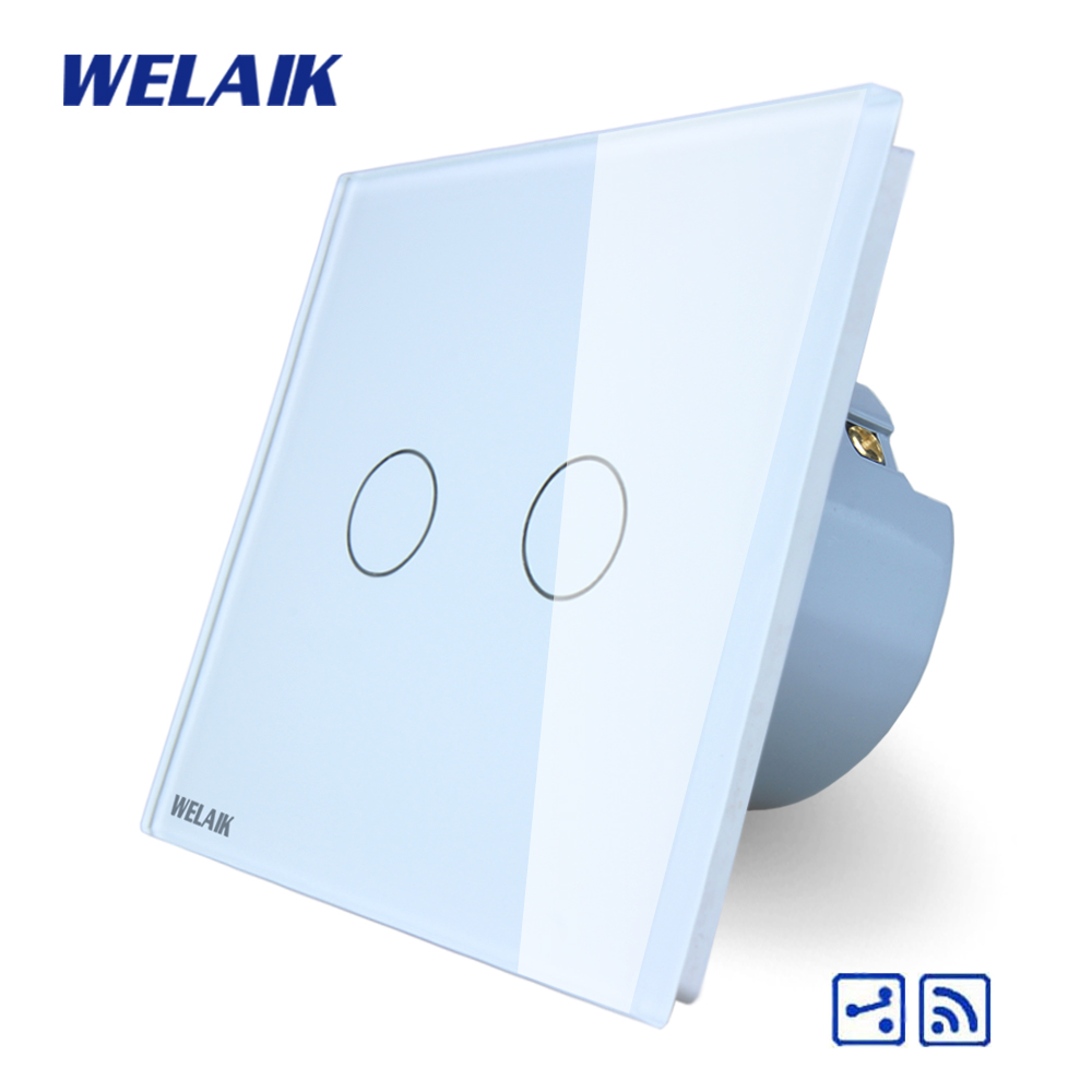 WELAIK Crystal Glass Panel Switch White Wall Switch EU Touch Switch Screen Wall Light Switch 2gang2way AC110~250V A1924CW/B welaik crystal glass panel switch white wall switch eu remote control touch switch light switch 1gang2way ac110 250v a1914w b