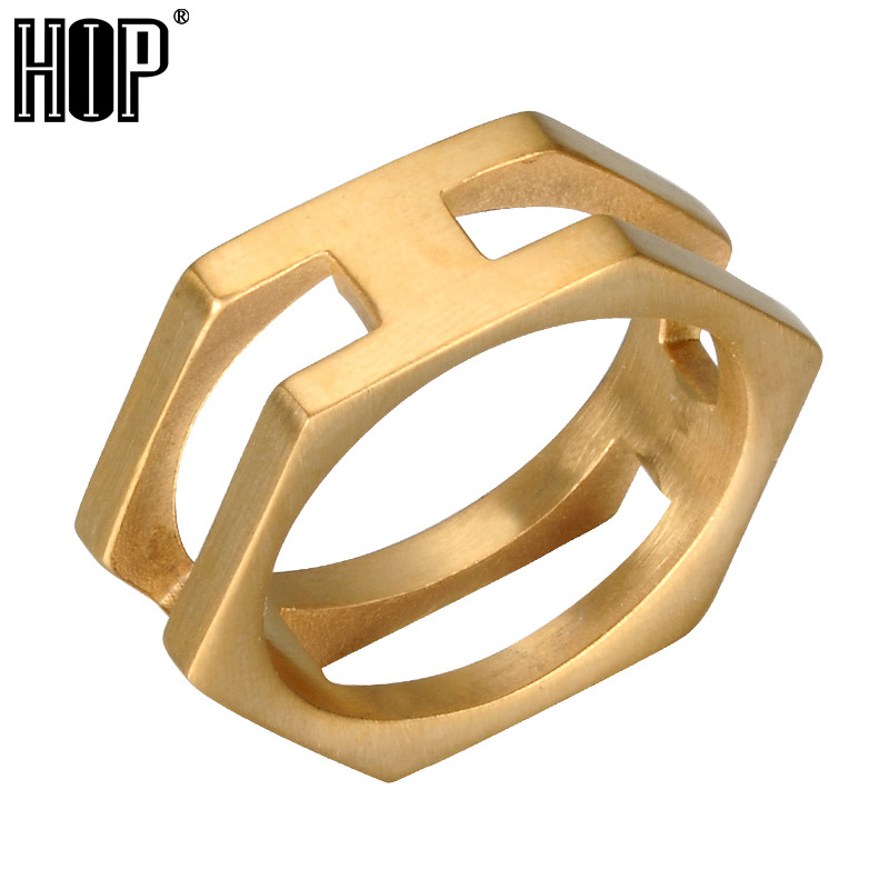 HIP Punk Gold Black Color Titanium Stainless Steel Geometric Charm Hexagonal Rings for Men Jewelry titanium ring
