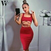 WYHHCJ 2018 Sexy Women Dress Elegant Evening Party Dress Vestidos Spring Midriff Club Bandage Summer Dresses