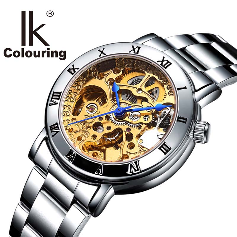 IK colouring Ladies Display Women Watch Top Brand Luxury Simple Skeleton Transparent Case Automatic Mechanical Watches Women k colouring women ladies automatic self wind watch hollow skeleton mechanical wristwatch for gift box