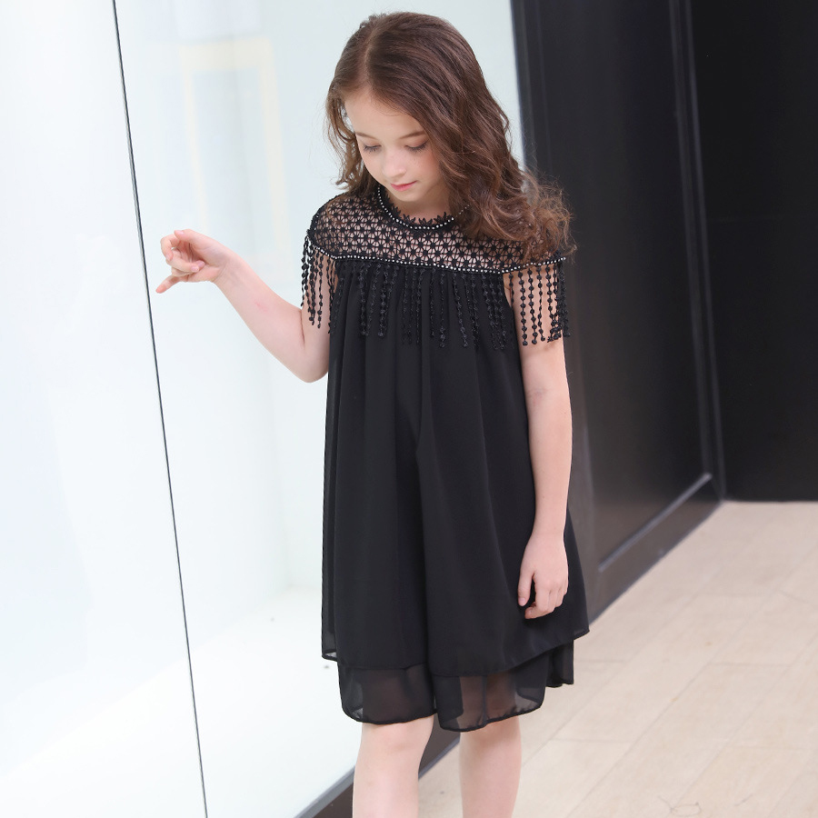 6 8 10 14 16 Year Summer Girls Dress Elegant Beading Tassels Black Dress Teenage Short Sleeve Black Corlor Girl Clothing Kids summer spring woman dress black white dog face pattern sequined beading chest black deep pink dress over knee cute cotton dress