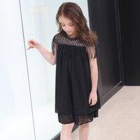 6 8 10 14 16 Year Summer Girls Dress Elegant Beading Tassels Black Dress Teenage Short Sleeve Black Corlor Girl Clothing Kids